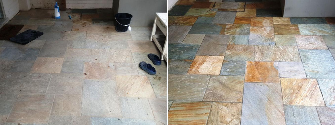 Lacklustre Multi-Coloured Slate Tiled Floor Transformed in Datchworth