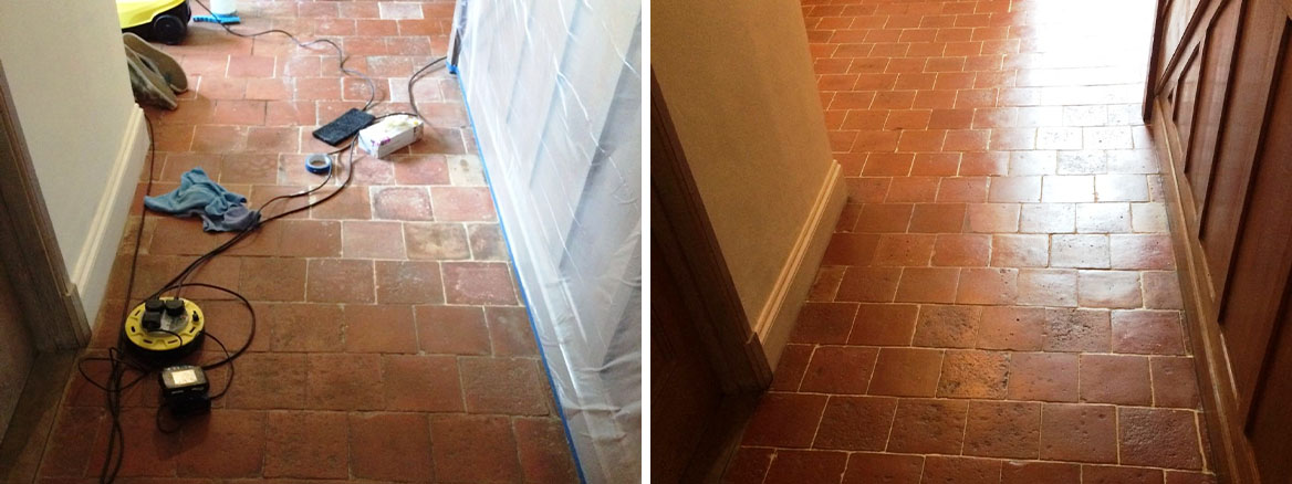 Old Quarry Tiles Before and After Cleaning Hemel Hempstead Farmhouse