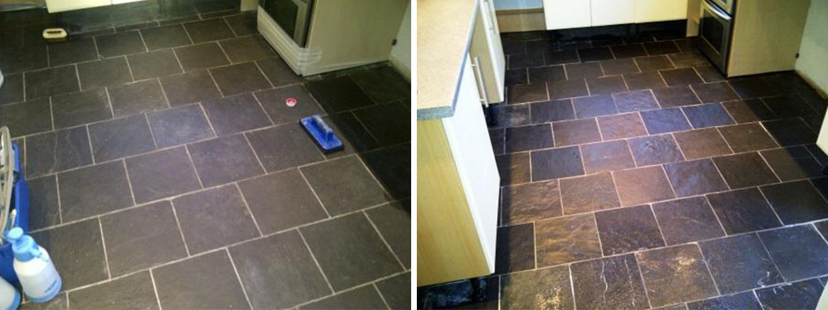 Slate Kitchen Floor Before and After cleaning and sealing