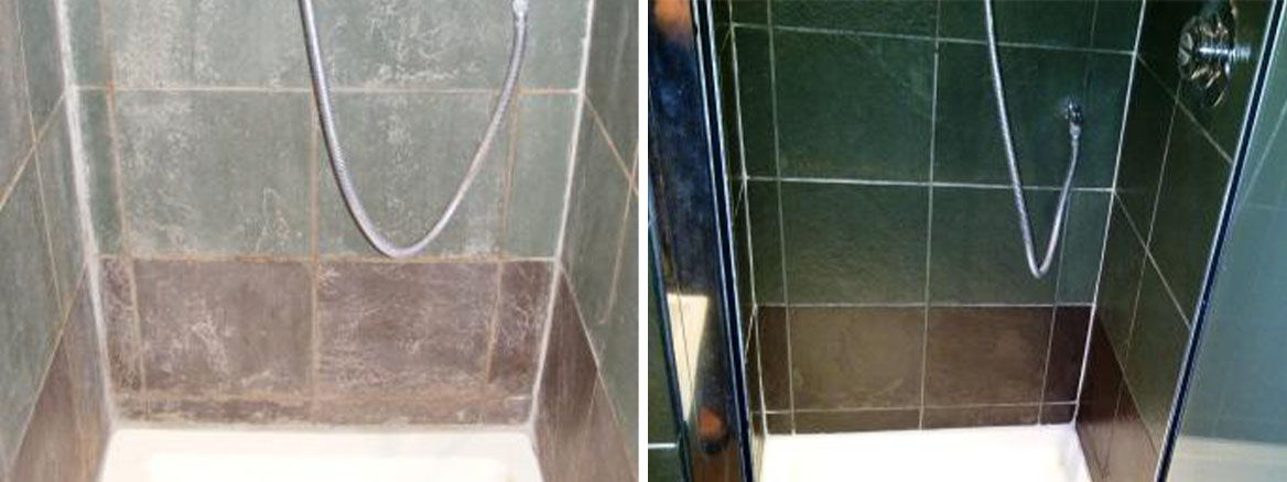 Slate Shower Before and After Restoration
