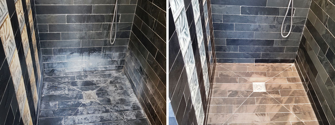 Slate Tiled Bathroom EnSuite Stevenage Before and After Cleaning