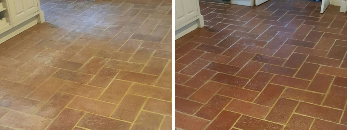 Traditional Terracotta Kitchen Floor Renovated in Welwyn Garden City
