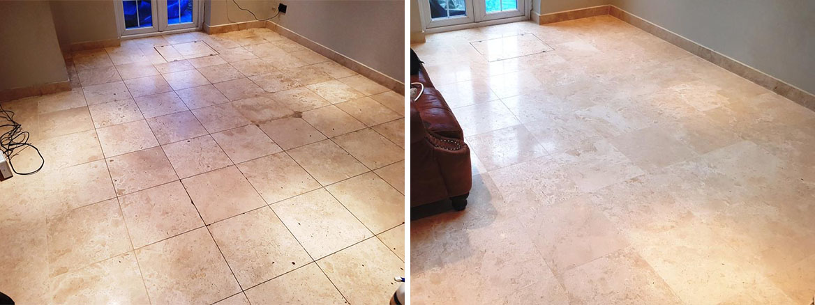 Travertine Floor Before and After Cleaning Welwyn Garden City